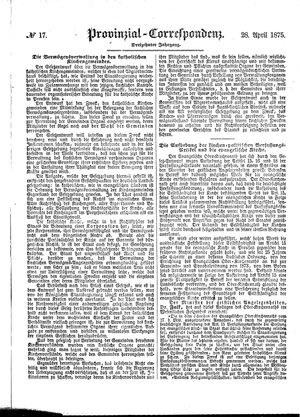 Provinzial-Correspondenz vom 28.04.1875