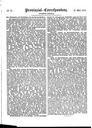 Provinzial-Correspondenz vom 19.05.1875