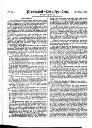 Provinzial-Correspondenz vom 26.05.1875