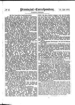 Provinzial-Correspondenz vom 21.07.1875