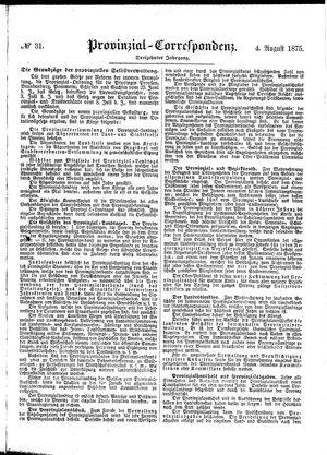 Provinzial-Correspondenz vom 04.08.1875