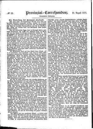 Provinzial-Correspondenz vom 18.08.1875