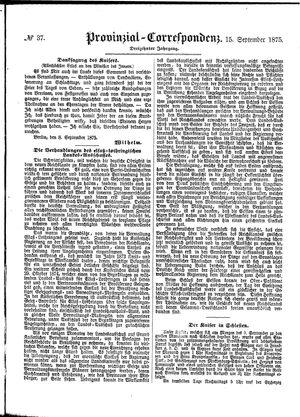 Provinzial-Correspondenz vom 15.09.1875