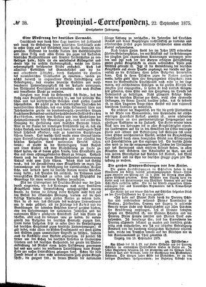Provinzial-Correspondenz vom 22.09.1875