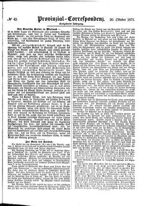 Provinzial-Correspondenz vom 20.10.1875