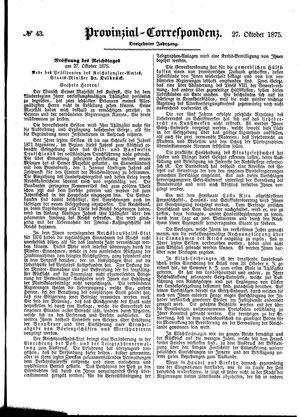 Provinzial-Correspondenz vom 27.10.1875