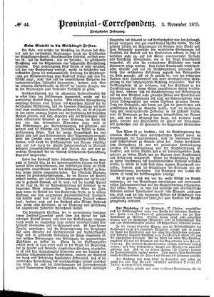 Provinzial-Correspondenz vom 03.11.1875