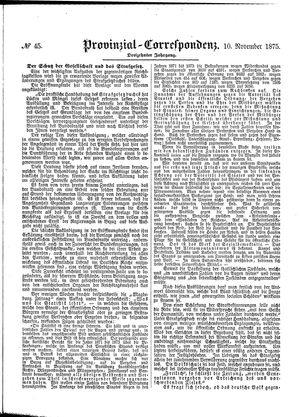 Provinzial-Correspondenz vom 10.11.1875