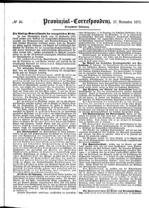 Provinzial-Correspondenz vom 17.11.1875