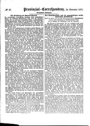 Provinzial-Correspondenz vom 24.11.1875