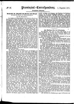 Provinzial-Correspondenz vom 01.12.1875