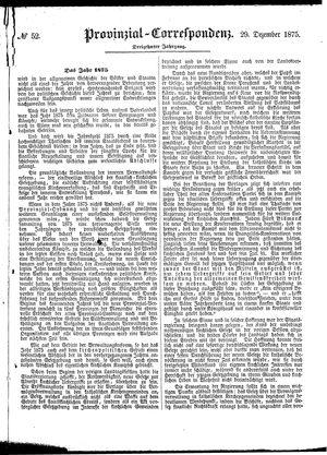 Provinzial-Correspondenz vom 29.12.1875