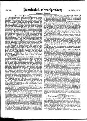 Provinzial-Correspondenz on Mar 15, 1876