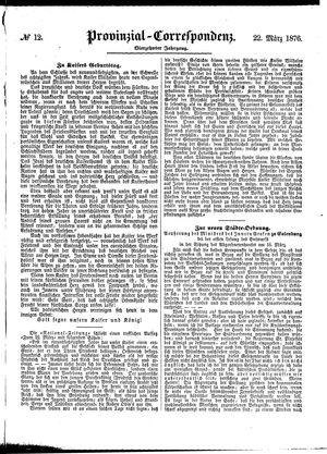 Provinzial-Correspondenz on Mar 22, 1876