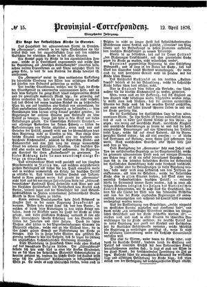 Provinzial-Correspondenz vom 12.04.1876