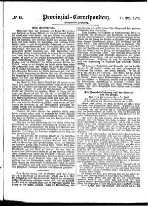 Provinzial-Correspondenz vom 11.05.1876