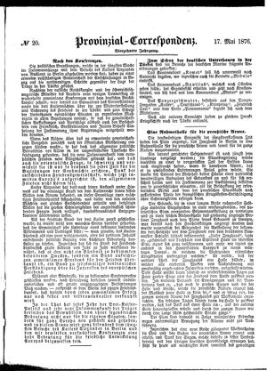 Provinzial-Correspondenz on May 17, 1876