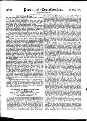 Provinzial-Correspondenz vom 31.05.1876