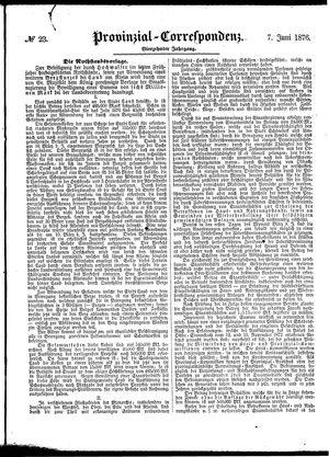 Provinzial-Correspondenz vom 07.06.1876