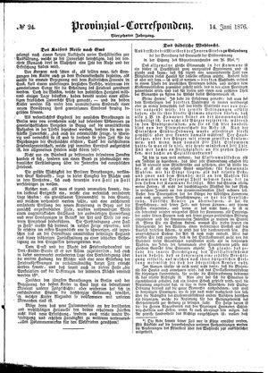 Provinzial-Correspondenz vom 14.06.1876