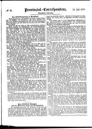 Provinzial-Correspondenz vom 12.07.1876