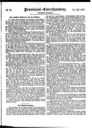 Provinzial-Correspondenz vom 19.07.1876