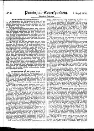 Provinzial-Correspondenz vom 02.08.1876