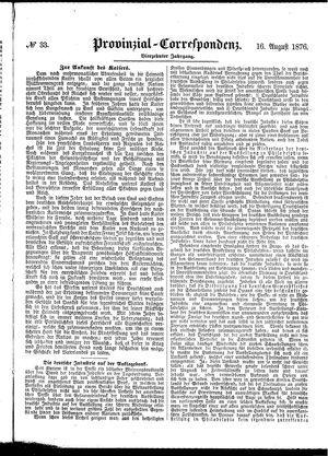 Provinzial-Correspondenz vom 16.08.1876
