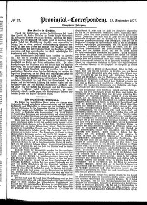 Provinzial-Correspondenz vom 13.09.1876