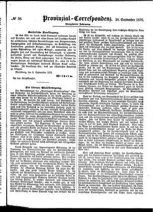 Provinzial-Correspondenz vom 20.09.1876