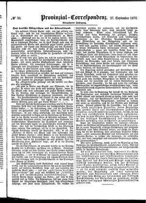 Provinzial-Correspondenz vom 27.09.1876