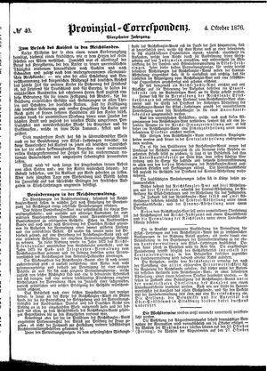 Provinzial-Correspondenz vom 04.10.1876