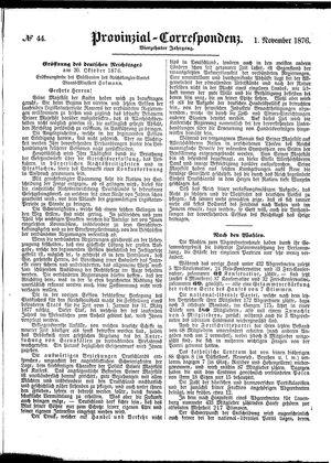 Provinzial-Correspondenz vom 01.11.1876