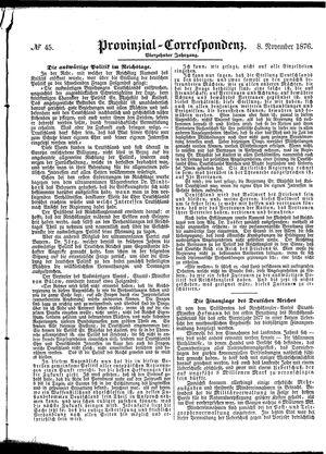 Provinzial-Correspondenz vom 08.11.1876