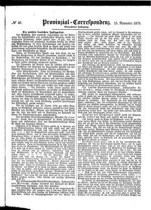 Provinzial-Correspondenz vom 15.11.1876