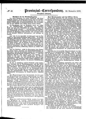 Provinzial-Correspondenz vom 29.11.1876