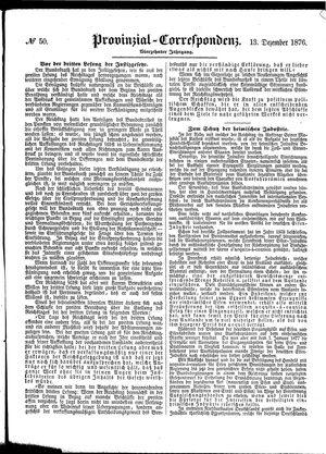 Provinzial-Correspondenz vom 13.12.1876