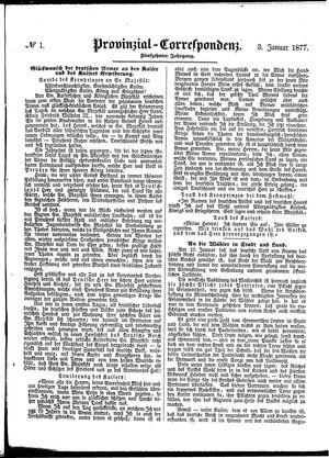 Provinzial-Correspondenz vom 03.01.1877