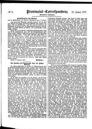 Provinzial-Correspondenz vom 10.01.1877