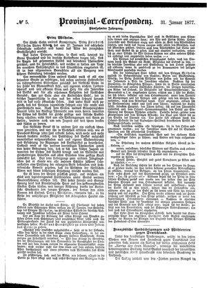 Provinzial-Correspondenz vom 31.01.1877