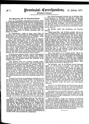 Provinzial-Correspondenz vom 14.02.1877