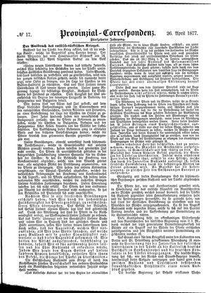 Provinzial-Correspondenz on Apr 26, 1877