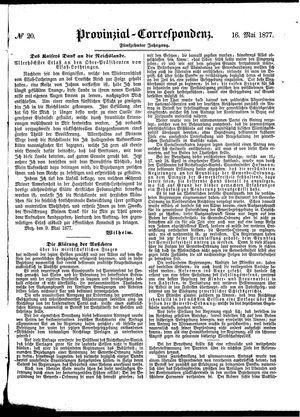 Provinzial-Correspondenz vom 16.05.1877