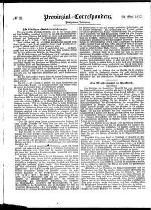 Provinzial-Correspondenz on May 23, 1877