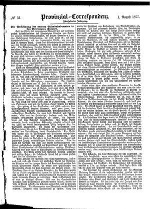 Provinzial-Correspondenz vom 01.08.1877