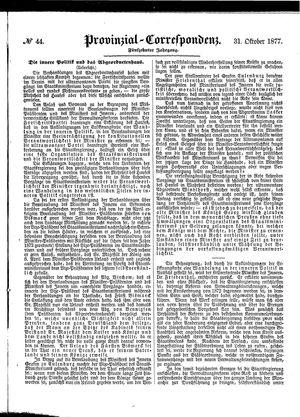 Provinzial-Correspondenz vom 31.10.1877