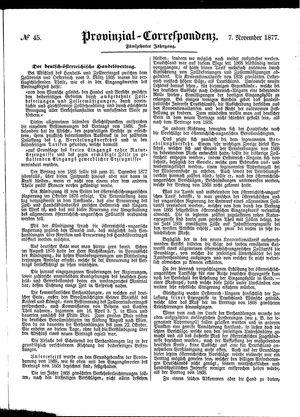 Provinzial-Correspondenz vom 07.11.1877