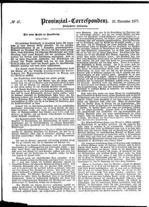 Provinzial-Correspondenz vom 21.11.1877