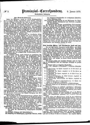 Provinzial-Correspondenz vom 09.01.1878