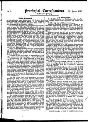 Provinzial-Correspondenz vom 16.01.1878
